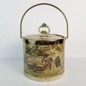 Vintage Ice Bucket Old World Map Bar Barware